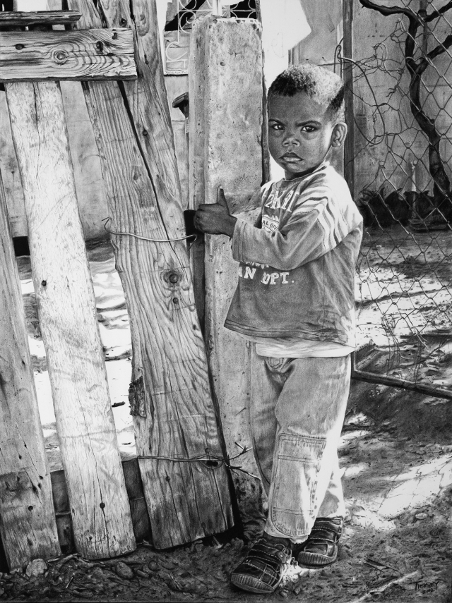 Graphite and Charcoal, 2012. This boy was standing across from a church I went to in Cape Town, South Africa in 2011. His curiosity and still expression struck me amidst the playful commotion near the church between the Americans and local kids, and even as I walked over and took a few pictures of him, he didn't move nor change his expression. The eye contact was piercing. While I was pleased to discover his name, his story remains unknown, like that of many people in need around the world.
