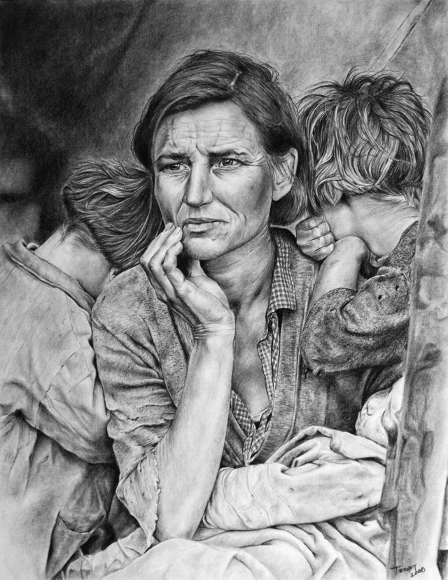 Graphite and Charcoal, 2008. Original photograph was taken by Dorothea Lange in 1936.  Personal exercise to practice detailed pencil technique, not for sale.