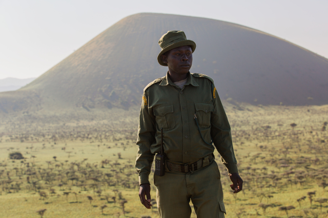 Judah looking out over Chyulu Hills, the area that his outpost is responsible for monitoring.